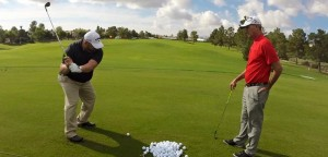 Joe Perez works with Callaway Golf rep Rick Brisky at TPC Summerlin.