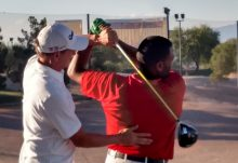 Hank Haney Gives Swing Tips to Anthony Anderson at Vegas' TaylorMade Golf Experience