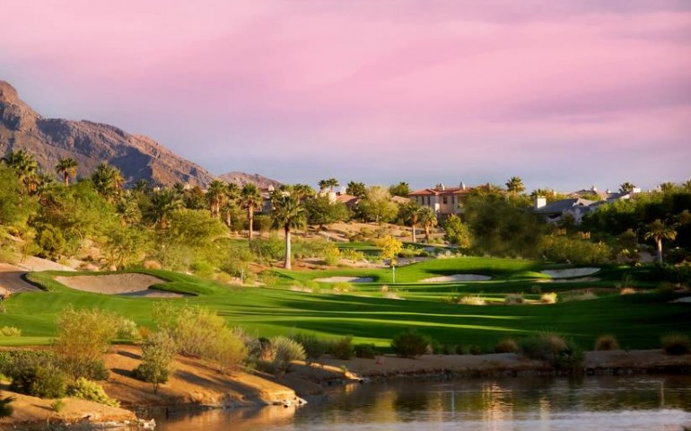 Par 5 18th hole at Arroyo Golf Club at Red Rock in Las Vegas, Nevada